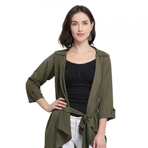 Serein Olive Polyester Solid Casual Shrug