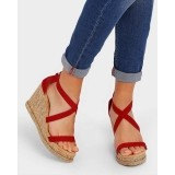 GET GLAMR Strappy Wedges with Zip Closure
