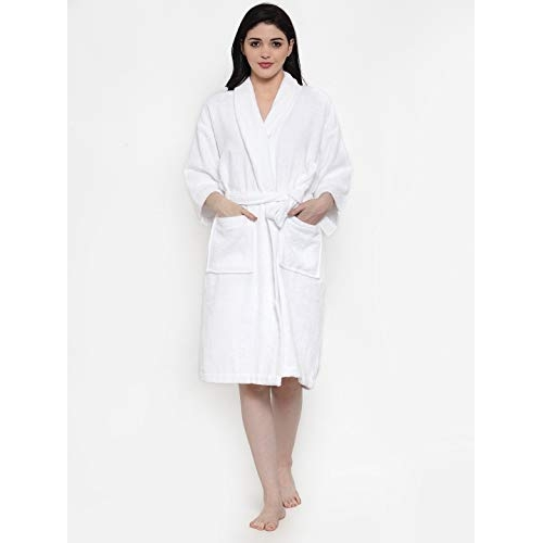 Trident White Cotton Solid 3/4TH Sleeve Bliss Bath Robe
