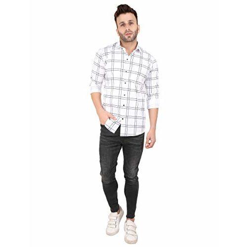 Peppyzone Men's Checked Full Sleeve Shirt (M, White 2)