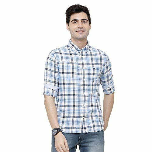 Double TWO Men's Checked Blue Casual Shirt