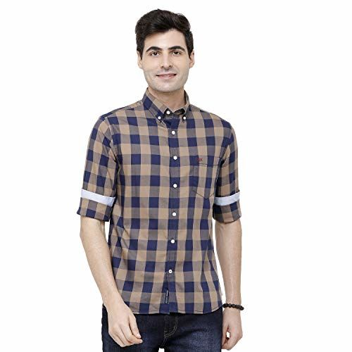 Double TWO Men's Checked Beige Casual Shirt