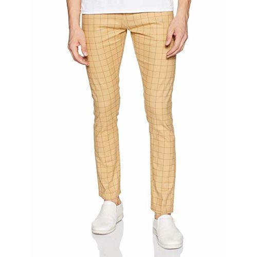 Diverse Men's Slim Fit Casual Trousers (DCMCT14SC19L31-1038B_Khaki_36)