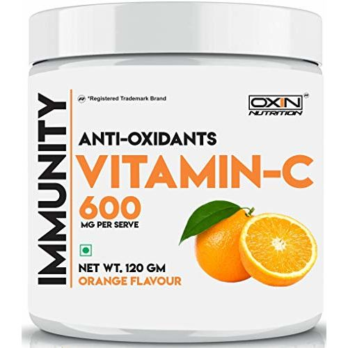 Oxin Nutrition Vitamin C Antioxidant Powder 600mg - 40 serves Immunity Booster Natural Vitamin C Builds Immunity Juicy Orange Flavour
