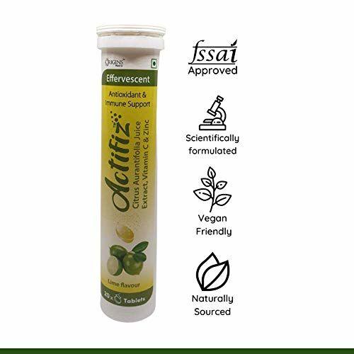ORIGINS NUTRA ACTIFIZ - Immunity Booster   Antioxidant   Natural vitamin C from Citrus Aurantifolia Juice Extract and Zinc   20 Effervescent fizz Tablets