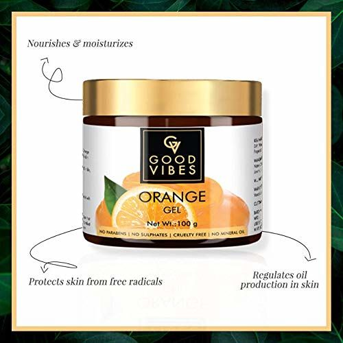 Good Vibes Orange Gel - 100 g - Oil-Control Hydrating Formula for Skin Brightening - Removes Acne, Wrinkles, Blackheads - Prevents Hair Loss - Cruelty Free