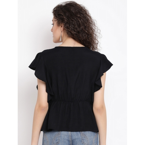 Oxolloxo Black Viscose Cap Sleeves Embroidered Top