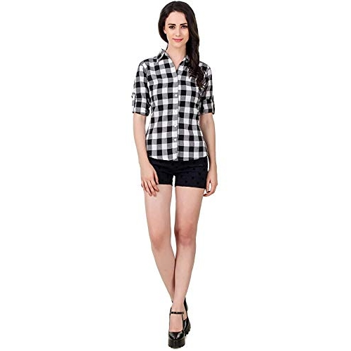 Vastraa Fusion Black And White Cotton Checked Full Sleeve Shirt