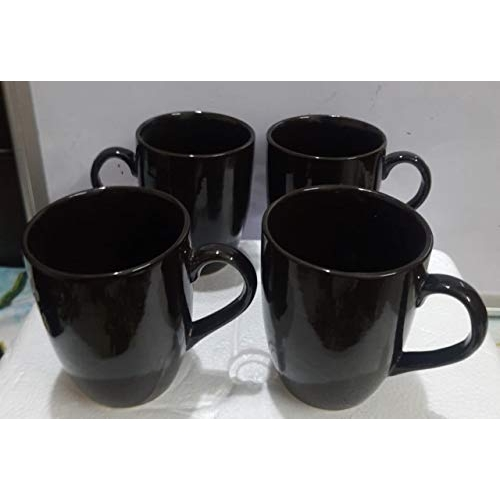Lotum Pure Ceramic Glossy Black Milk/Coffee Mugs/(Set of 4)/Made in India/Perfect QUALITY/300ML Each