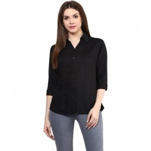 Mayra Black Rayon Solid Slim Fit Shirt