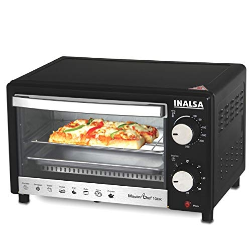 Inalsa MasterChef 10BK Black Oven Toaster Griller with Temperature Selection 800 W, Powder Coated Finish, Includes Baking Pan, SS Grill Tray, Hand Glove