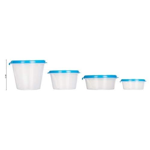 Cutting EDGE Super Sturdy Blue Eco Plastic Container Set, 4-Pieces (1000ml, 750ml, 2X500ml), AirTight Plastic Food Container Kitchen Storage Set