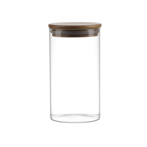 Brine Borosillicate Glass Jar With Wooden Lid