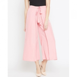 Bitterlime Pink Crepe Solid Mid-Rise Palazzo