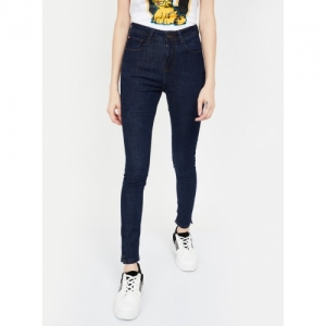 LEE COOPER Navy Blue Cotton Solid Skinny Fit Jeans