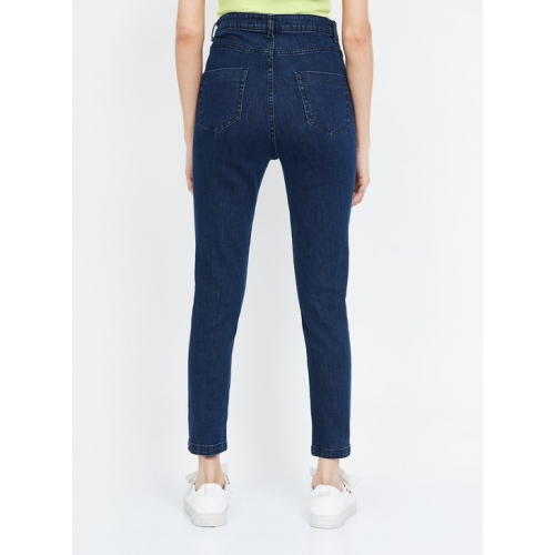 FAME FOREVER Navy Blue Cotton Solid Slim Fit Cropped Jeans