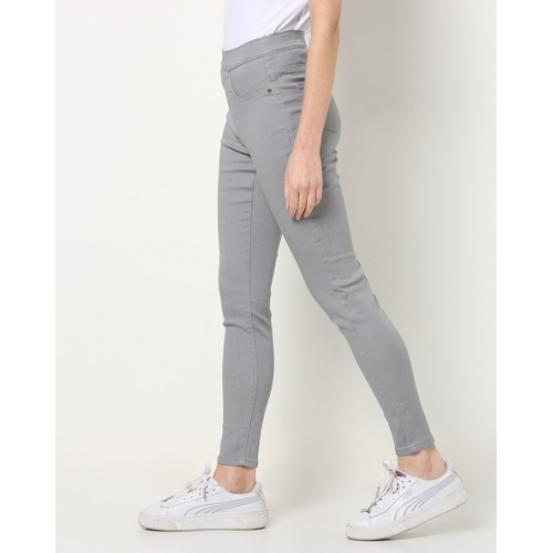 DNMX Grey Cotton Solid Ankle-Length Jeggings