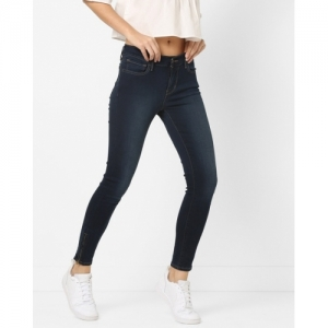 LEVIS 710 Navy Blue Cotton Solid Skinny Fit Jeans