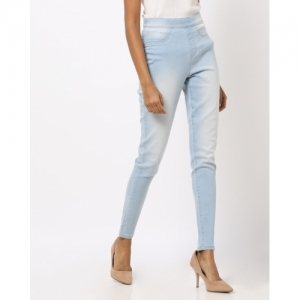 DNMX Sky Blue Cotton Washed High-Rise Jeggings