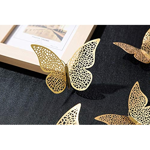 Xtore Flair pro 12pcs 3D Home Golden Decor Butterfly with Sticking Pad(Set of 12)