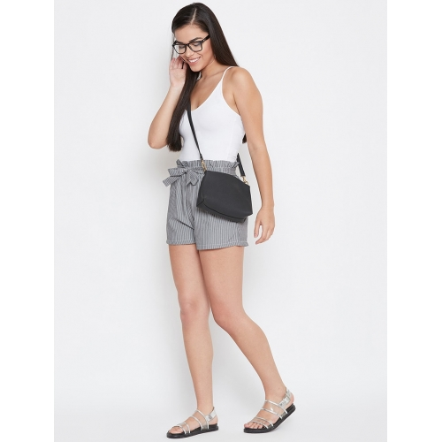 CAMEY Grey Polyester Striped Frill Waist Tie Front Shorts
