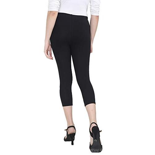 INDIJOY Black Cotton Solid Slim Fit Leggings
