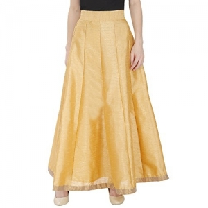 DAMEN MODE Golden Modern Silk Solid Mid Rise Flared Skirt
