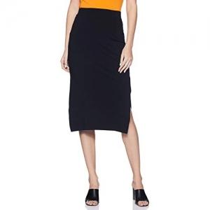 Amazon Brand - Symbol Black Cotton Solid Pencil Skirt