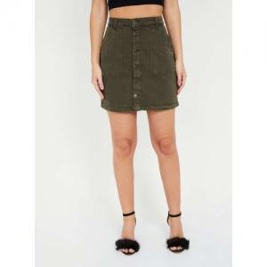 FAME FOREVER Olive Denim Solid Mini Skirt
