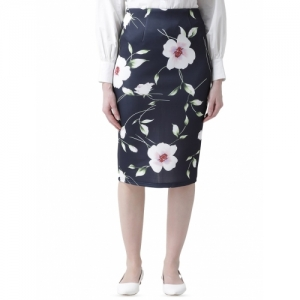 KASSUALLY Navy Blue Polyester  Floral Pencil Skirts