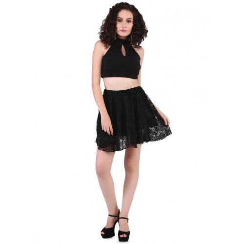 Triraj Black Net Solid High Rise Floral Laced Skirt