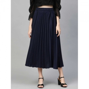 PLUSS Navy Blue Polyester Solid High Rise Pleated A-line Skirt