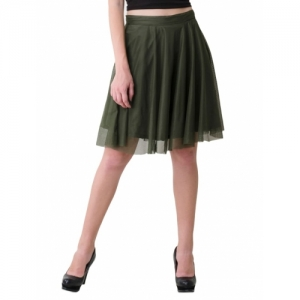 V&M Olive Net Solid Skater Skirts