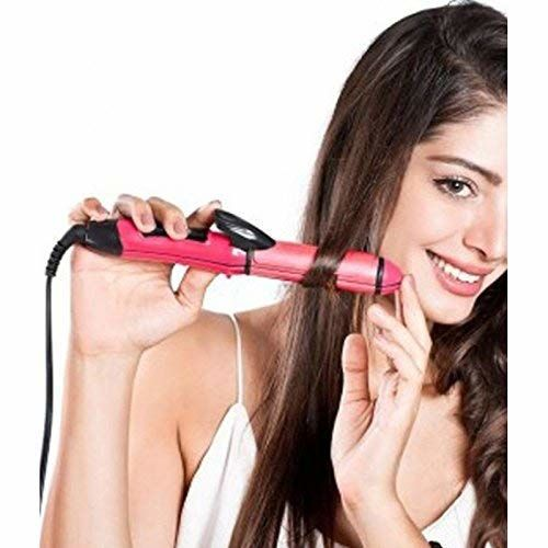 ARRAY 2-in-1 Ceramic Plate Essential Combo Beauty Set of Hair Straightener and Plus Hair Curler for Women (Pink)