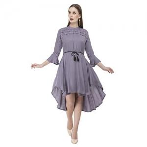 Sadatapan Purple Solid Bell Sleeve Knee Length Dress