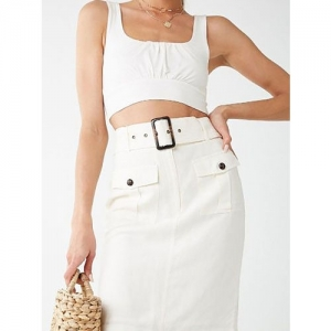 Forever 21 White Polyester Solid A-Line Fit Skirt