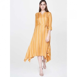 AND Yellow Cotton Striped A-line Dress