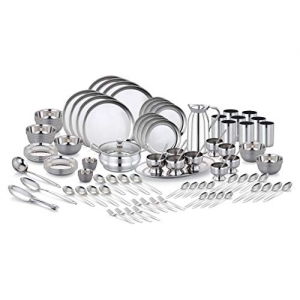 Pigeon Sapphire Stainless Steel Dinner Set, 111-Pieces, Silver