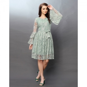 Selvia Green Net Floral Gathered Bell Sleeve Dress