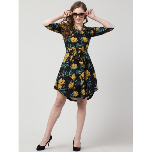 Hive91 Black Rayon Floral Knee Length Tie Front Dress
