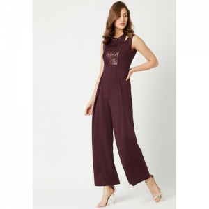 Miss Chase Black Polyester Solid Pleated Jumpsuit