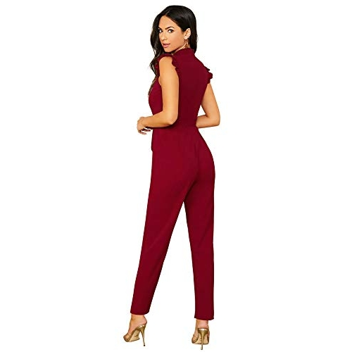 Tfunny Fashion Maroon Polyester Solid A-Line Jumpsuit