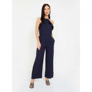 FABALLEY  Navy Blue Polyester Solid Sleeveless Jumpsuit