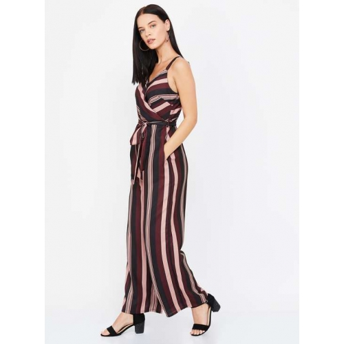 FABALLEY Multicolour Polyester Surplice Neck Striped Jumpsuit