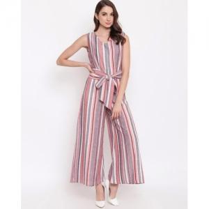 Mayra Multicolour Rayon Striped Sleeveless Jumpsuit