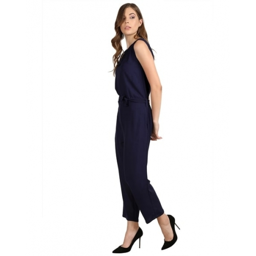 AROVI Navy Blue Rayon Solid Sleeveless Jumpsuit
