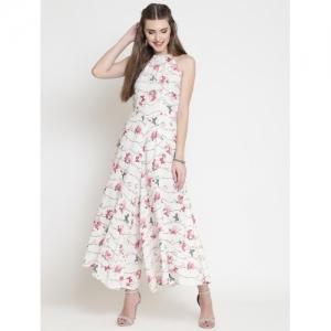 Sera White Viscose Floral Full Length Jumpsuit