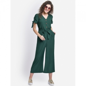 MARTINI Green Crepe Solid Tie Front Short Sleeve Jumpsuit