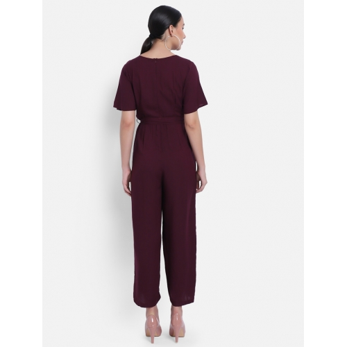 The Dry State Maroon Rayon Solid Tie Front Jumpsuit