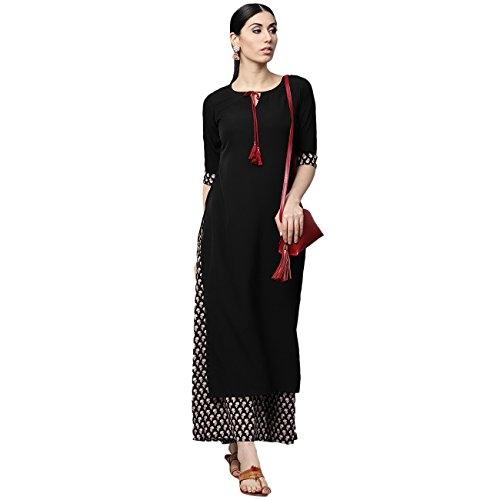 Gerua Black Crepe Solid Straight Salwar Suit Set